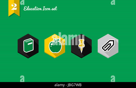 Set of flat design icons for Education and back to school concept. Vector file layered for easy editing. - Stock Photo