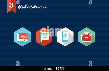 Set of flat design icons for Real estate business and properties. Vector file layered for easy editing. - Stock Photo