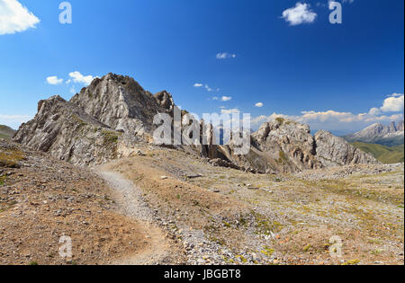 footpath on Costabella ridge in San Pellegrino valley, Trentino, Italy - Stock Photo