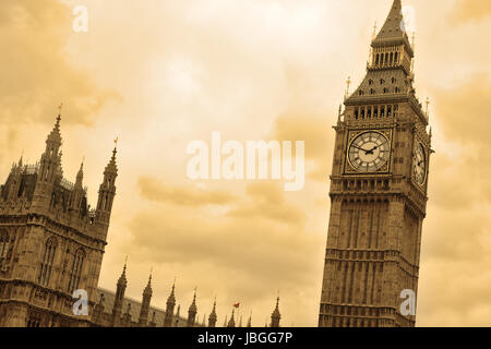 Big Ben and House of Parliament in London - sepia toned - Stock Photo