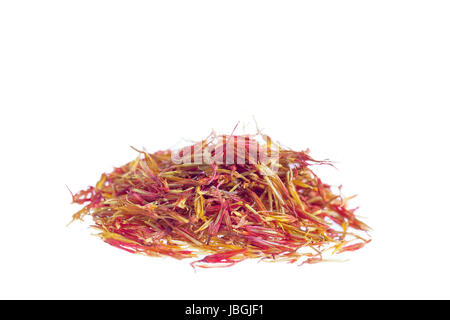 Heap of saffron isolated on white background, view from above. - Stock Photo