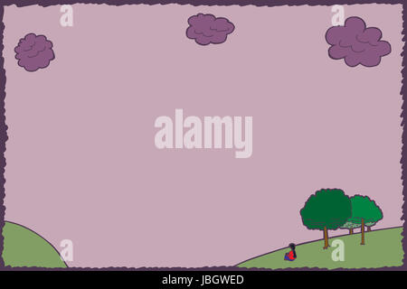Background of cloudy sky with woman sitting on hill - Stock Photo