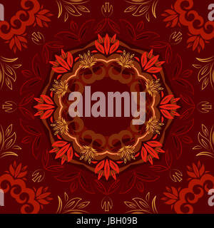 Abstract red floral repeating background with round vector pattern - Stock Photo