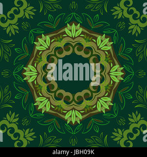 Abstract green floral repeating background with round vector pattern - Stock Photo