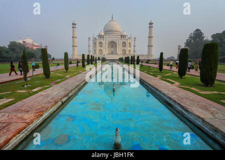 Taj Mahal in early morning for, Agra, Uttar Pradesh, India. It was build in 1632 by Emperor Shah Jahan as a memorial - Stock Photo