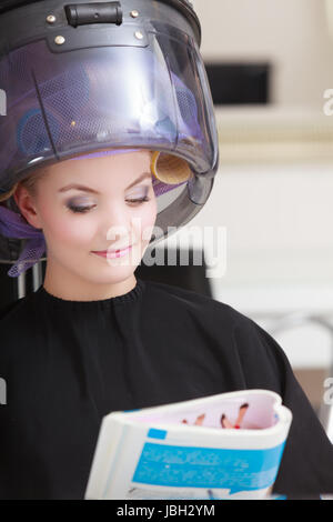 Client with hair curlers in salon stock photo royalty for Reading beauty salon