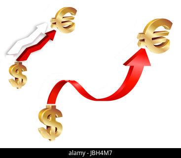 Dollar vs Euro. Economical concept illustration - Stock Photo