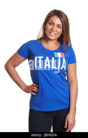 Standing italian girl in a blue soccer jersey laughing at camera on an isolated white background - Stock Photo