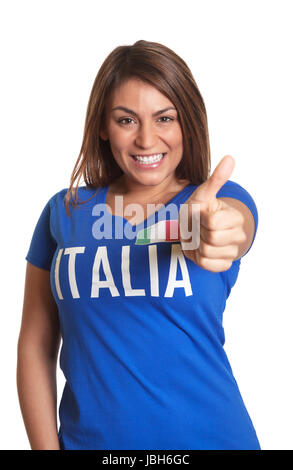 Attractive italian girl looking at camera and showing thumb up on an isolated white background - Stock Photo
