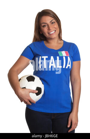 Beautiful italian girl with football laughing at camera on an isolated white background - Stock Photo
