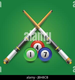 colorful illustration with billiard icon on a green background for your design - Stock Photo