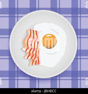 colorful illustration with fried egg for your design - Stock Photo