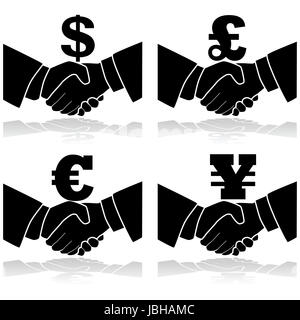 Icon illustration showing a handshake with a currency symbol on top of it - Stock Photo