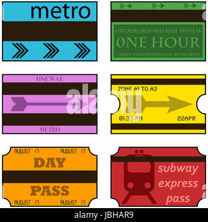 Cartoon illustration showing vintage retro style subway tickets - Stock Photo