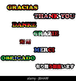 Concept illustration showing the expression Thank You in different languages, with the flags of countries that speak - Stock Photo