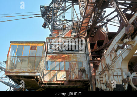 detail of an excavator in disused opencast ferropolis - Stock Photo