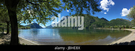 Italian Lakes - Panoramic view of Lake Lugano at Porlezza in northern Italy. - Stock Photo