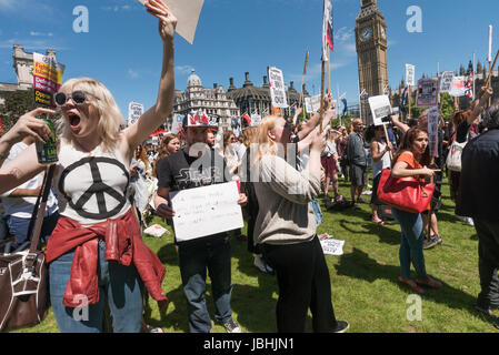 June 10, 2017 - London, UK - London, UK. 10th June 2017. People shout against Theresa May and the DUP at the rally - Stock Photo