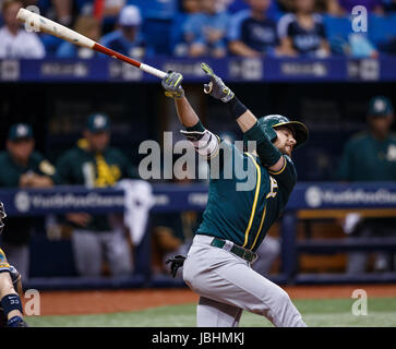 June 10, 2017 - Oakland Athletics Jed Lowrie (8) strikes out in the 5th inning in the 1st game of a doubleheader - Stock Photo