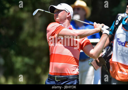 Memphis, TN, USA. 09th June, 2017. Daniel Berger looks down the third fairway during the second round of the FedEx St. Jude Classic at TPC Southwind in Memphis, TN. Austin McAfee/CSM/Alamy Live News