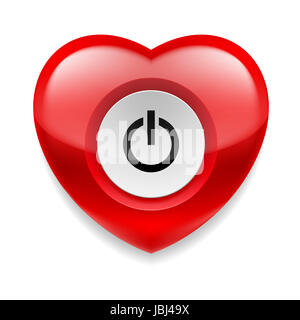 Shiny red heart with power button on white background. Love or health concept - Stock Photo
