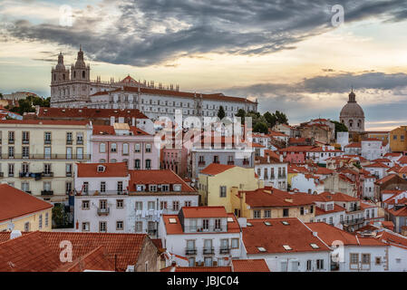 Lisbon, Portugal: aerial view the old town, Alfama - Stock Photo