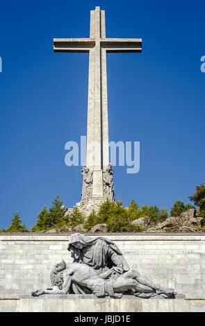 Sculptures by Juan de Avalos in cross Valley of the Fallen, Valle de los Caidos, Madrid, spain - Stock Photo