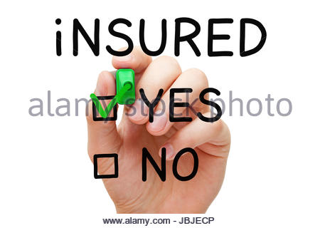 Hand putting check mark with green marker on Yes Insured. - Stock Photo