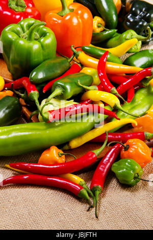 Stock image of chilli pepper still life very colorful an varied - Stock Photo