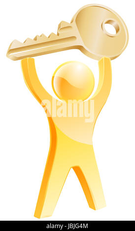 Gold key person concept of a gold mascot holding up a car or house key. Concept for general solving problems or - Stock Photo