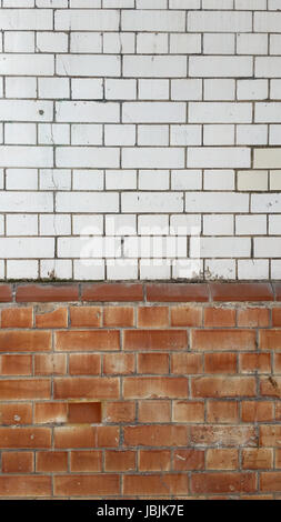 Two Tone Vintage Brick Wall - Stock Photo