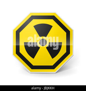 Shiny metal warning sign of radiation on white background - Stock Photo