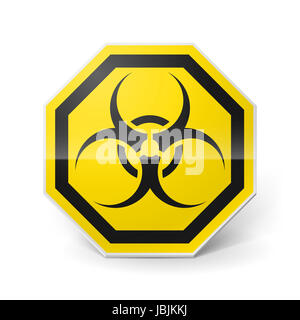 Shiny metal biohazard sign in black and yellow colors on white background - Stock Photo