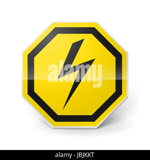 Shiny metal warning sign of high voltage on white background - Stock Photo