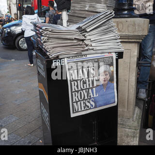 LONDON, UK - JUNE 09, 2017: Theresa May on the Evening Standard front page on the day after the general elections - Stock Photo