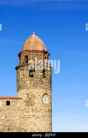 Detail of the bell tower of the Church of Notre Dame des Anges, Collioure, Côte Vermeille, France - Stock Photo