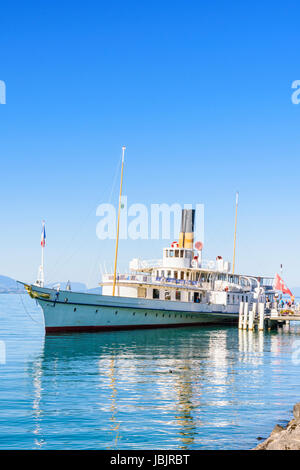 Belle Epoque paddle steamer La Suisse moored at the port of Lausanne-Ouchy, Lausanne, Switzerland - Stock Photo