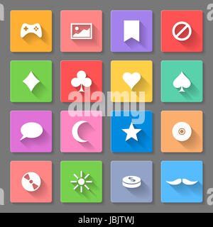 Set of colorful flat icons with long shadows for web design and apps - Stock Photo