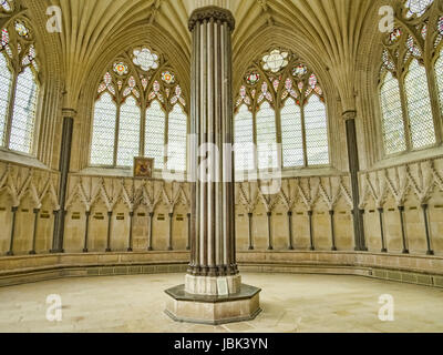 8 June 2017: Wells, Somerset, England - The Chapter House of Wells Cathedral, an octahedral structure completed - Stock Photo