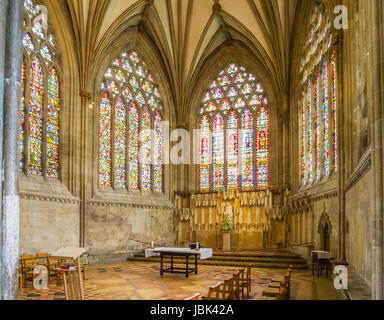 8 June 2017: Wells, Somerset, England - The Lady Chapel at the East end of Wells Cathedral, Wells, Somerset, England, - Stock Photo