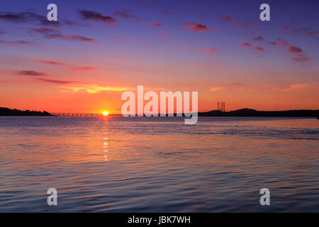 Sunset over the River Tay from Broughty Ferry - Stock Photo