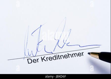 Unterschrift der Kreditnehmer - Stock Photo
