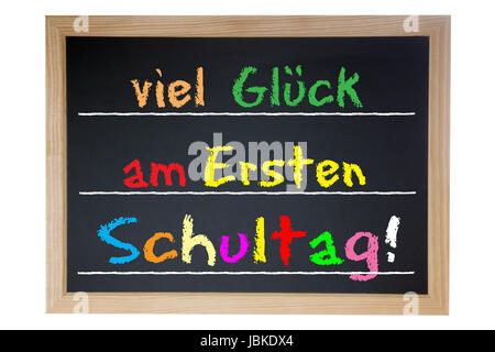 School board with the German words Good luck on first school day - Stock Photo