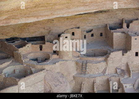 Cliff Palace Ruins, Mesa Verde National Park, UNESCO World Heritage Site, Colorado, USA - Stock Photo