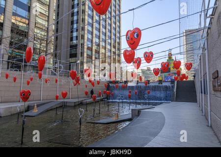 Dec 16, 2016 Cheonggyecheon Stream in Seoul, South Korea - Stock Photo