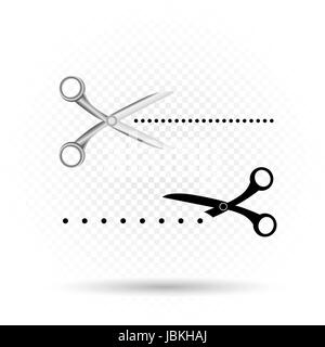 Scissors line cut icon silhouette with shadow on transparent background - Stock Photo