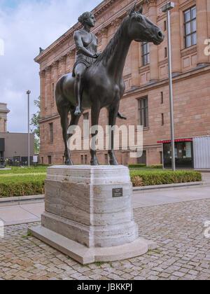 Amazone zu Pferde statue (meaning Amazon on horseback) designed by German sculptur Louis Tuaillon in 1890 - Stock Photo