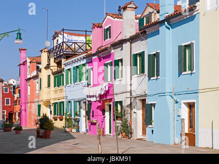 Venice - Houses and ailse from Burano island - Stock Photo