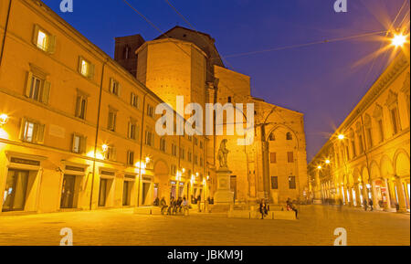 BOLOGNA, ITALY - MARCH 15, 2014: Piazza Galvani square with the Dom or San Petronio church in Sunday morning. - Stock Photo