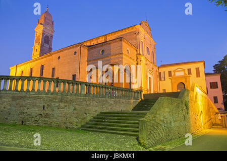 BOLOGNA, ITALY - MARCH 17, 2014: Church San Michele in Bosco in evening dusk. - Stock Photo